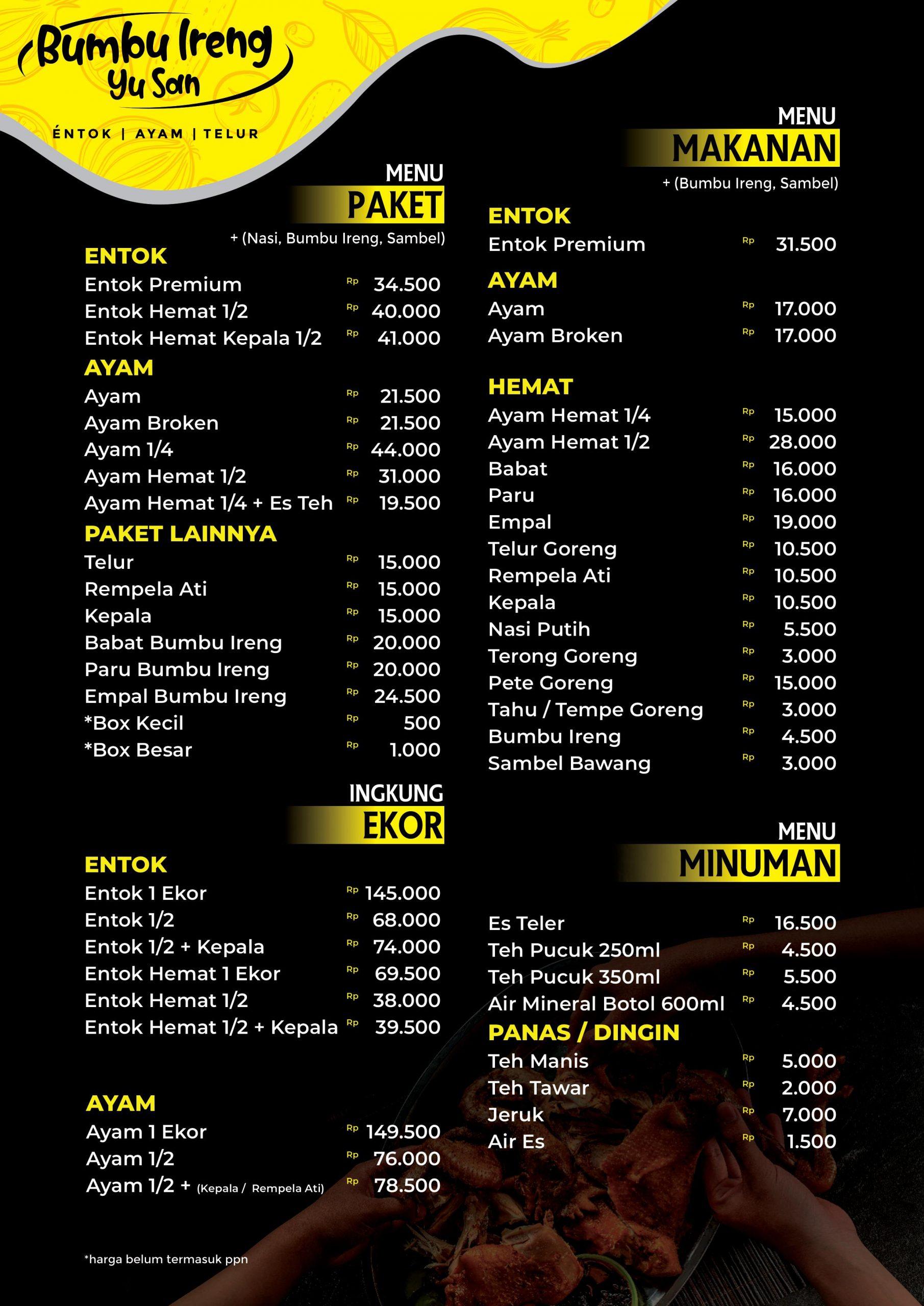daftar menu bumbu ireng yu san jakarta jatim